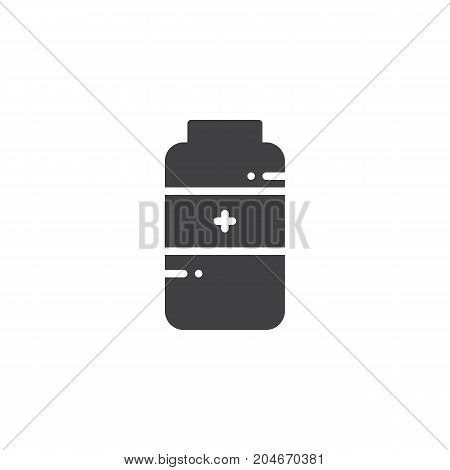 Medications jar icon vector, filled flat sign, solid pictogram isolated on white. Symbol, logo illustration
