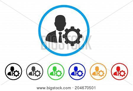 Serviceman rounded icon. Style is a flat serviceman grey symbol inside light blue circle with black, gray, green, blue, red, orange color versions. Vector designed for web and software interfaces.