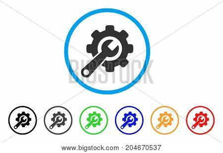 Tools rounded icon. Style is a flat tools gray symbol inside light blue circle with black, gray, green, blue, red, orange versions. Vector designed for web and software interfaces.