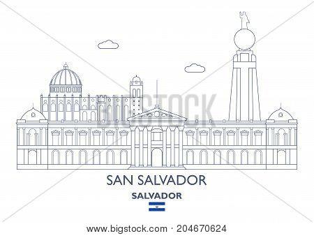 San Salvador Linear City Skyline Salvador. Famous places