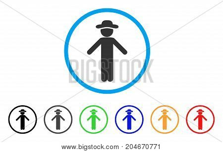 Gentleman Apology rounded icon. Style is a flat gentleman apology gray symbol inside light blue circle with black, gray, green, blue, red, orange variants.