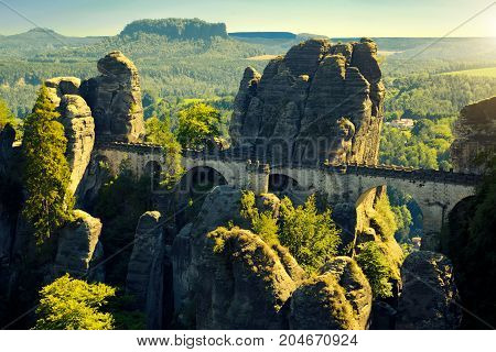 Bastei Bridge At National Park Saxon Switzerland
