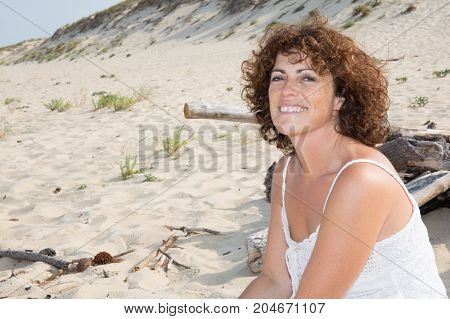 Forties Woman Portrait Smiling Girl Outdoor On Sunny Day