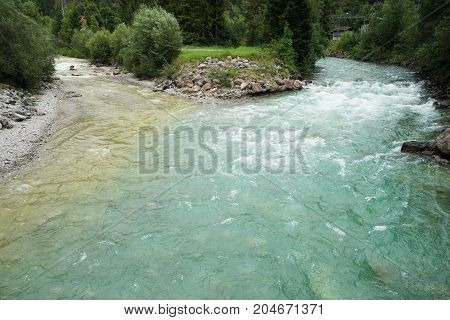 The Lech river in the Lechtal Alps