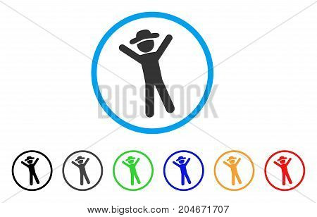 Gentleman Joy rounded icon. Style is a flat gentleman joy grey symbol inside light blue circle with black, gray, green, blue, red, orange variants. Vector designed for web and software interfaces.