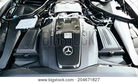 Kyiv, Ukraine - September 2, 2017: Mercedes-Benz Star Experience 2017 on the airport Boryspil at the express test of the fastest Mercedes AMG for journalists, bloggers and clients