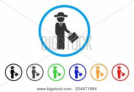 Gentleman Manager rounded icon. Style is a flat gentleman manager gray symbol inside light blue circle with black, gray, green, blue, red, orange versions.