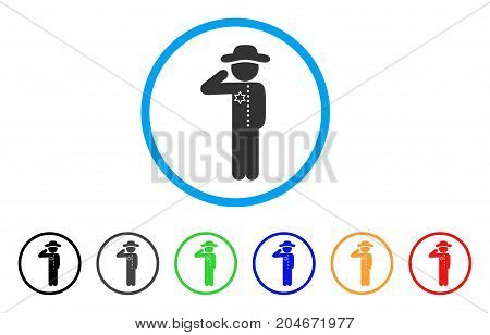 Gentleman Officer rounded icon. Style is a flat gentleman officer grey symbol inside light blue circle with black, gray, green, blue, red, orange color versions.
