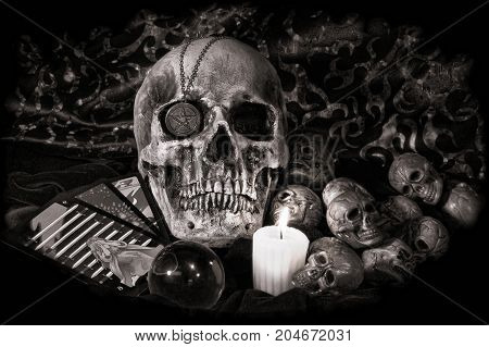 Creepy still life in vintage black and white