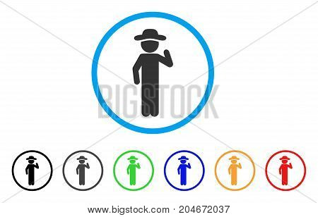 Gentleman Opinion rounded icon. Style is a flat gentleman opinion grey symbol inside light blue circle with black, gray, green, blue, red, orange color versions.