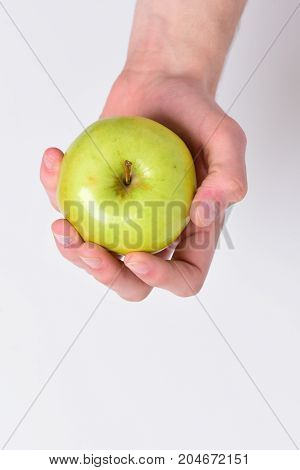 Vitamins And Fitness Concept. Apple In Fresh And Juicy Color.