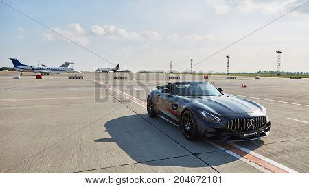 Kyiv, Ukraine - September 2, 2017: Mercedes-Benz Star Experience 2017 on the airport Boryspil at the express test of the fastest Mercedes AMG for journalists, bloggers and clients.