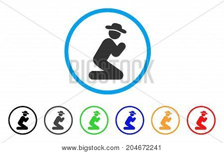 Gentleman Pray rounded icon. Style is a flat gentleman pray gray symbol inside light blue circle with black, gray, green, blue, red, orange versions. Vector designed for web and software interfaces.