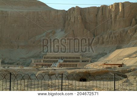 EGYPT, January 15, 2005: The Mortuary Temple of Hatshepsut, also known as the Djeser-Djeseru, Thebes, UNESCO World Heritage Site, Egypt, North Africa, Africa