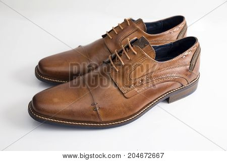 Male Brown Leather Shoe on White Background, Isolated Product.