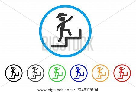 Gentleman Steps Upstairs rounded icon. Style is a flat gentleman steps upstairs grey symbol inside light blue circle with black, gray, green, blue, red, orange color versions.