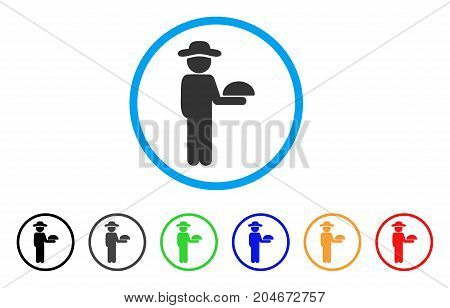 Gentleman Waiter rounded icon. Style is a flat gentleman waiter grey symbol inside light blue circle with black, gray, green, blue, red, orange color versions.