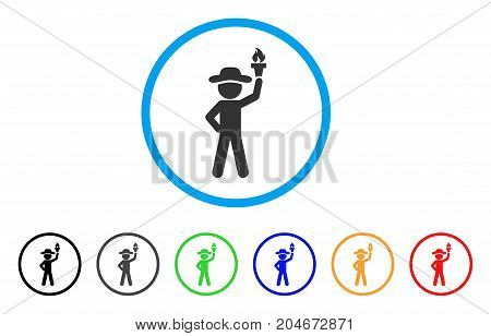 Gentleman With Freedom Torch rounded icon. Style is a flat gentleman with freedom torch gray symbol inside light blue circle with black, gray, green, blue, red, orange color versions.
