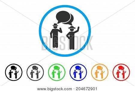 Gentlemen Chat rounded icon. Style is a flat gentlemen chat gray symbol inside light blue circle with black, gray, green, blue, red, orange versions. Vector designed for web and software interfaces.