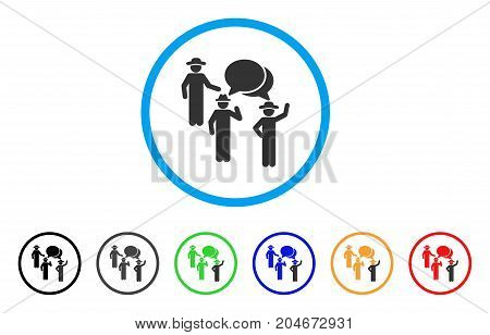 Gentlemen Discussion rounded icon. Style is a flat gentlemen discussion gray symbol inside light blue circle with black, gray, green, blue, red, orange variants.