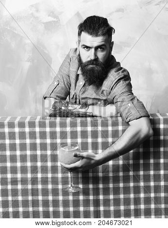Brutal Caucasian Hipster Holding Tropical Alcohol Fresh Cocktail