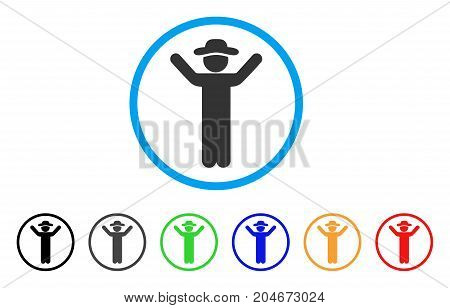 Hands Up Gentleman rounded icon. Style is a flat hands up gentleman grey symbol inside light blue circle with black, gray, green, blue, red, orange variants.