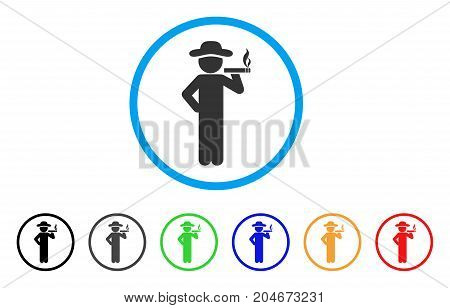 Smoking Gentleman rounded icon. Style is a flat smoking gentleman grey symbol inside light blue circle with black, gray, green, blue, red, orange color versions.
