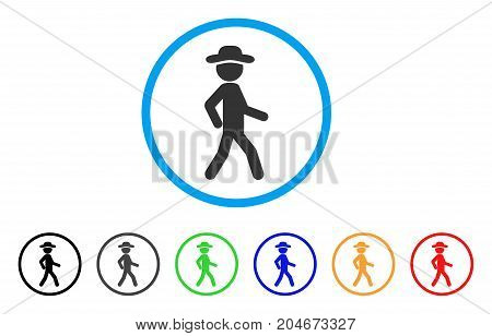 Walking Gentleman rounded icon. Style is a flat walking gentleman gray symbol inside light blue circle with black, gray, green, blue, red, orange versions.