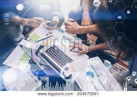 Concept of digital diagram, graph interfaces, virtual screen, connections icon on blurred background.Business meeting process.Woman typing laptop computer keyboard.Horizontal