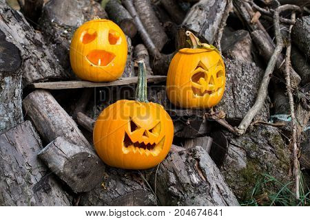 Halloween Themes. Composition Of Three Carved Halloween Pumpkins On Wooden Background. Pumpkins With
