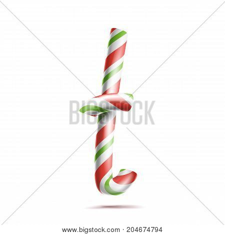 Letter T Vector. 3D Realistic Candy Cane Alphabet Symbol In Christmas Colours. New Year Letter Textured With Red, White. Typography Template. Striped Craft Isolated Object. Xmas Art