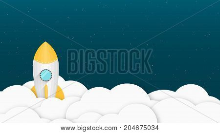 Yellow cartoon rocket. Background for your projects. White clouds. Advertising poster for the site. Starry sky. Vector illustration in a flat style