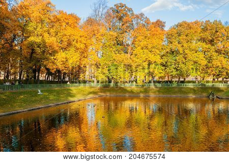 ST PETERSBURG RUSSIA-OCTOBER 3 2016. Autumn landscape, Karpiev pond in Summer garden with walking people. Autumn landscape of St Petersburg Russia. Sunny autumn scene of St Petersburg Russia autumn park. Autumn landscape