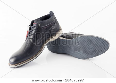 Male Blue Leather Shoe on White Background, Isolated Product.