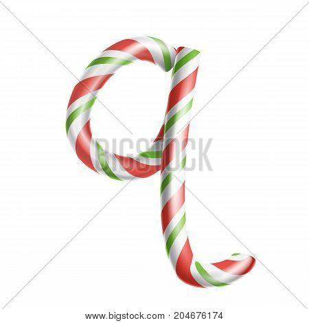 Letter Q Vector. 3D Realistic Candy Cane Alphabet Symbol In Christmas Colours. New Year Letter Textured With Red, White. Typography Template. Striped Craft Isolated Object. Xmas Art