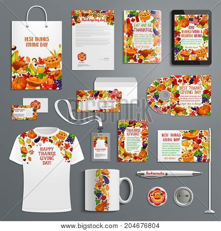 Corporate identity template set with Thanksgiving holiday symbols. Business card, letterhead, envelope, folder, brochure cover and stationery with autumn leaf, turkey and pumpkin pie branding layout