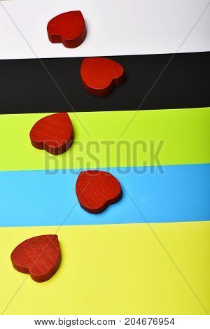 Red Hearts On Colourful Background As Love Concept