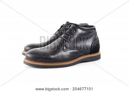Male Black Boot on White Background, Isolated Product.