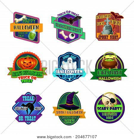 Halloween trick or treat party holiday icons. Vector greeting set of magic potion cauldron, zombie eye and hand or spooky ghost on cemetery, Halloween pumpkin lantern and witch hat or black cat
