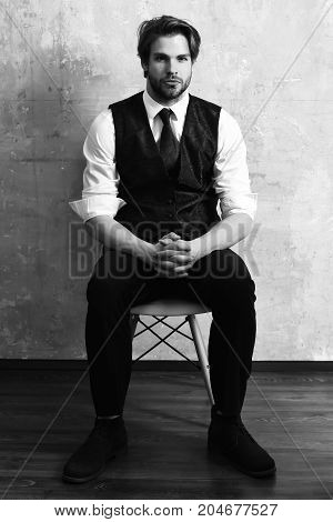 Fashion Business Man Relax On Chair