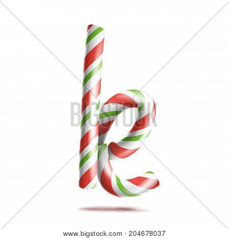 Letter K Vector. 3D Realistic Candy Cane Alphabet Symbol In Christmas Colours. New Year Letter Textured With Red, White. Typography Template. Striped Craft Isolated Object. Xmas Art