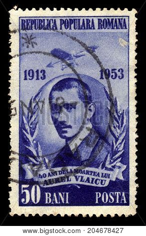 ROMANIA - CIRCA 1953: A stamp printed in Romania shows Aurel Vlaicu, romanian engineer, inventor, airplane constructor and early pilot, circa 1953