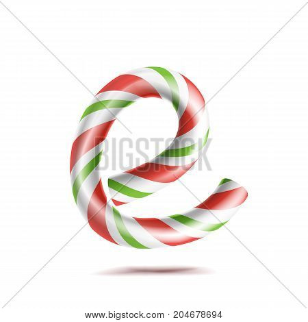 Letter E Vector. 3D Realistic Candy Cane Alphabet Symbol In Christmas Colours. New Year Letter Textured With Red, White. Typography Template. Striped Craft Isolated Object. Xmas Art
