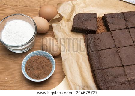 Chocolate brownie bake with flour, eggs and coco powder