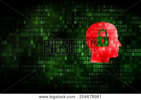 Information concept: pixelated Head With Padlock icon on digital background, empty copyspace for card, text, advertising