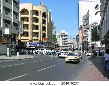 Dubai, United Arab Emirates - July 5, 2004: Busy street in the Deira district of Dubai in the United Arab Emirates.