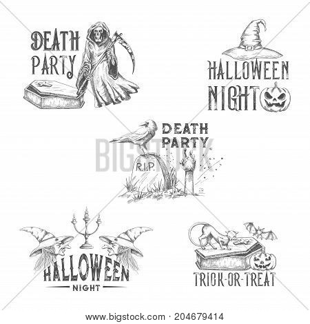 Halloween party sketch icons for horror holiday greeting or invitation design template. Vector pumpkin lantern, dead zombie skull or death with scythe, witch and Halloween spooky trick or treat grave