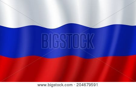 Russia 3D flag of wavy fabric background. Vector Russian Federation republic country official national flag of white, blue and red horizontal color waving stripes