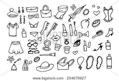 lady fashion accessories vector doodle background set