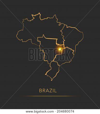 Golden region map, Brazil districts vector background